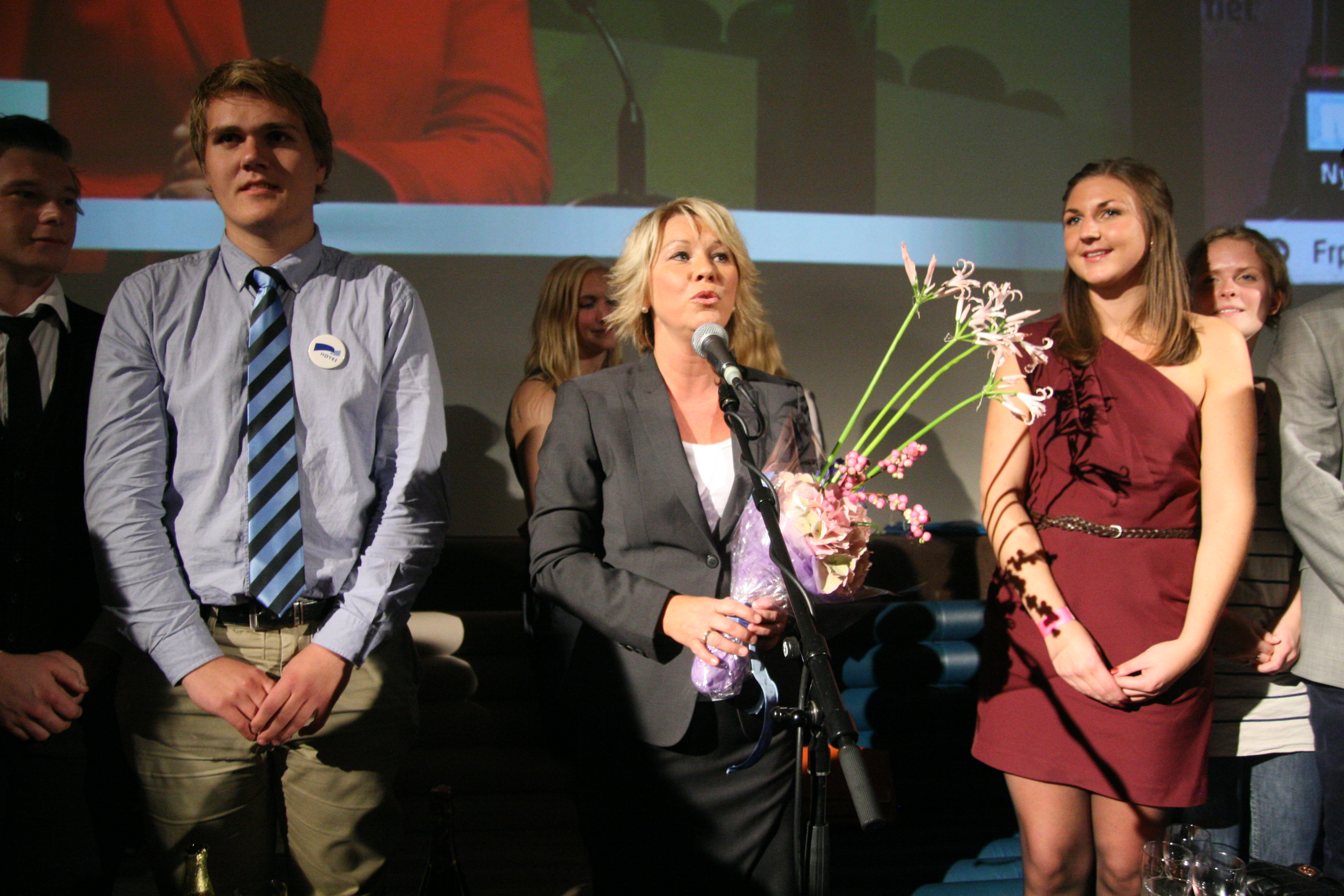 SEIERSTALE: Monica Mæland her plantet med bena i Unge Høyre.